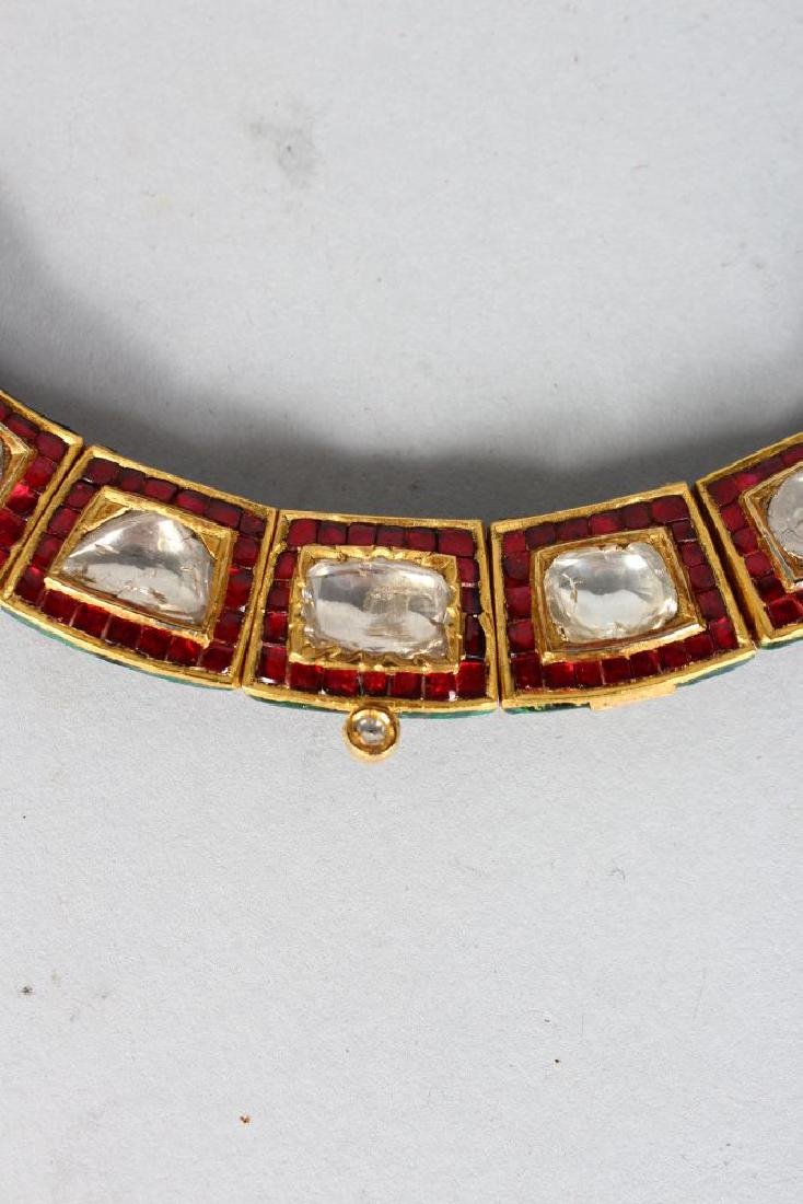 A SUPERB DIAMOND AND RUBY ENAMEL BACK GOLD NECKLACE and - 3