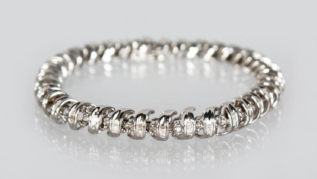 A 14CT WHITE GOLD DIAMOND BRACELET OF 2CTS approx.
