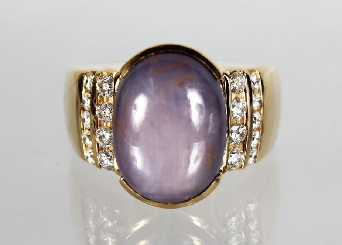 A VERY SUBSTANTIAL 14CT YELLOW GOLD SAPPHIRE AND