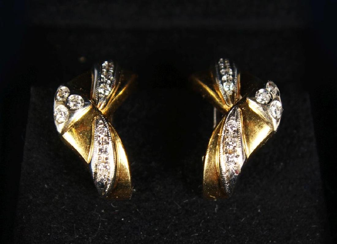 A PAIR OF 18CT YELLOW GOLD DIAMOND SET EARRINGS. - 2