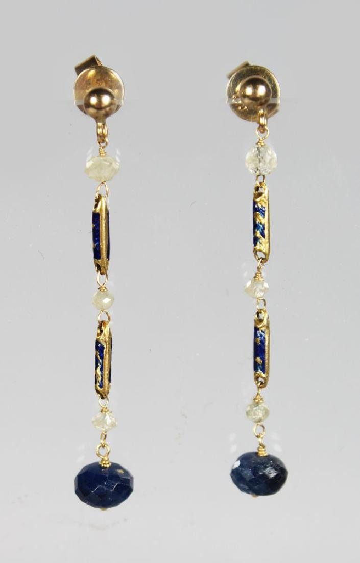 A PAIR OF YELLOW GOLD ART DECO STYLE EARRINGS set with