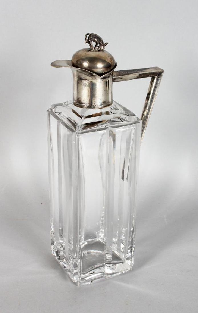A GOOD FRENCH SQUARE GLASS CLARET JUG, with silver