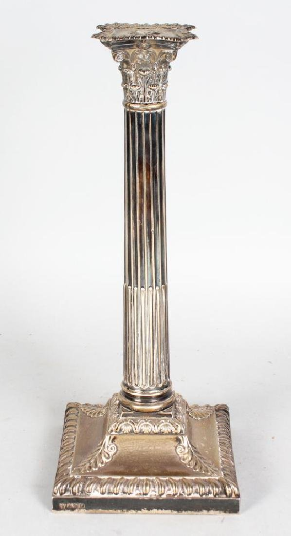 A SINGLE LARGE VICTORIAN CORINTHIAN COLUMN CANDLESTICK