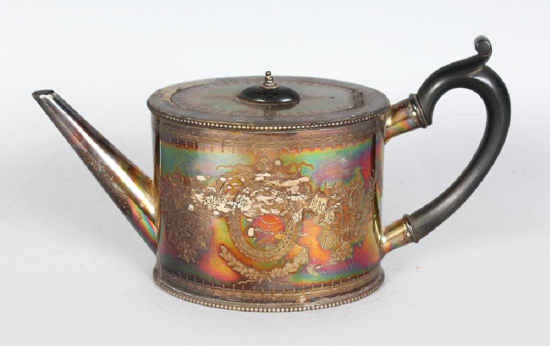 A VICTORIAN OVAL ENGRAVED GEORGIAN STYLE TEAPOT with