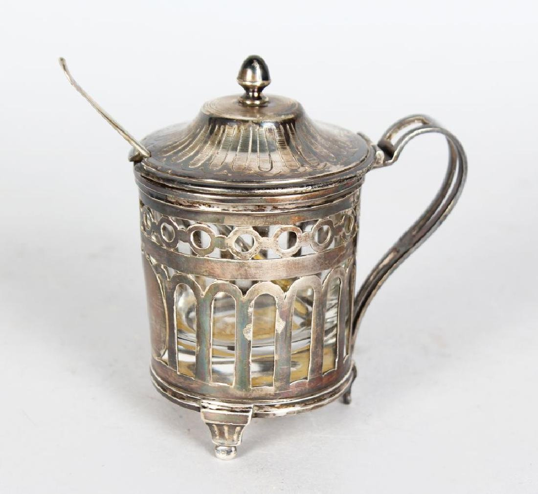 AN 18TH CENTURY FRENCH PIERCED SILVER MOUNTED POT with