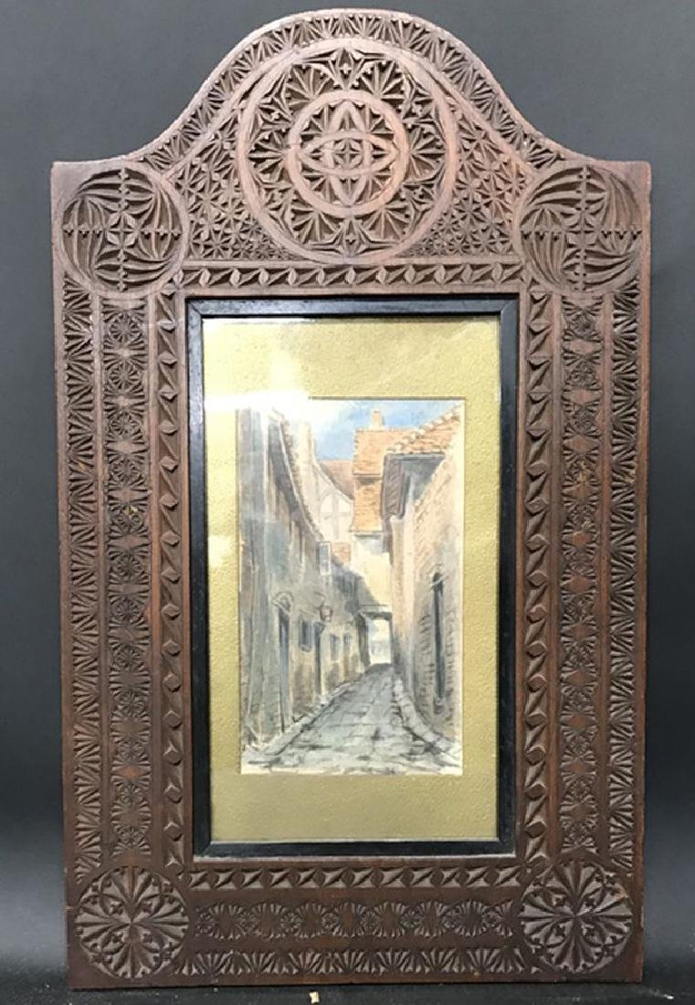 19th Century Indian School. A Carved Wood Frame, with - 2