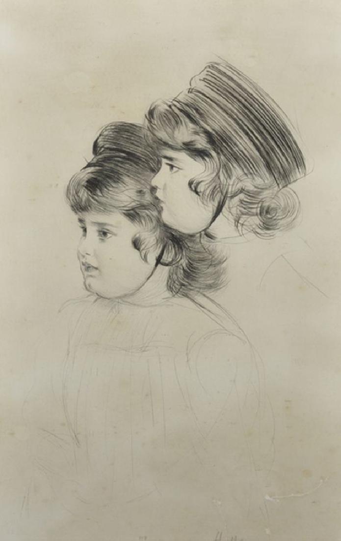 Paul Cesar Helleu (1859-1927) French. A Head Study of