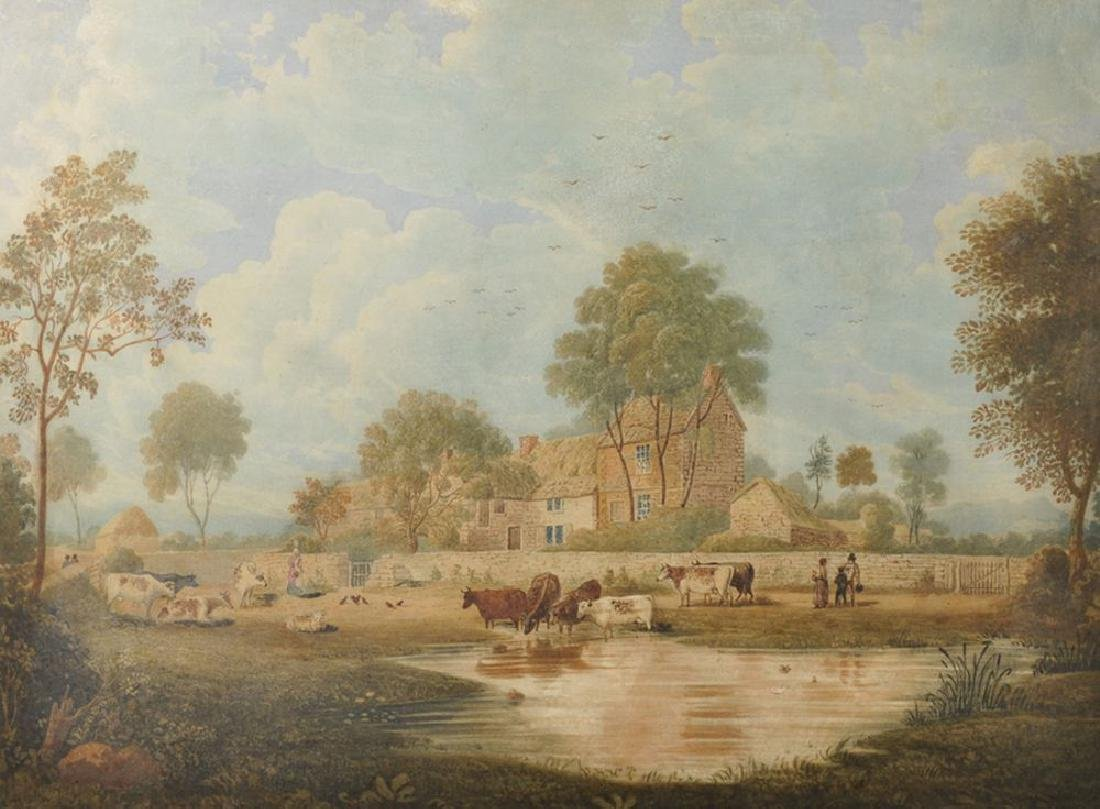 19th Century English School. Cattle Watering in a