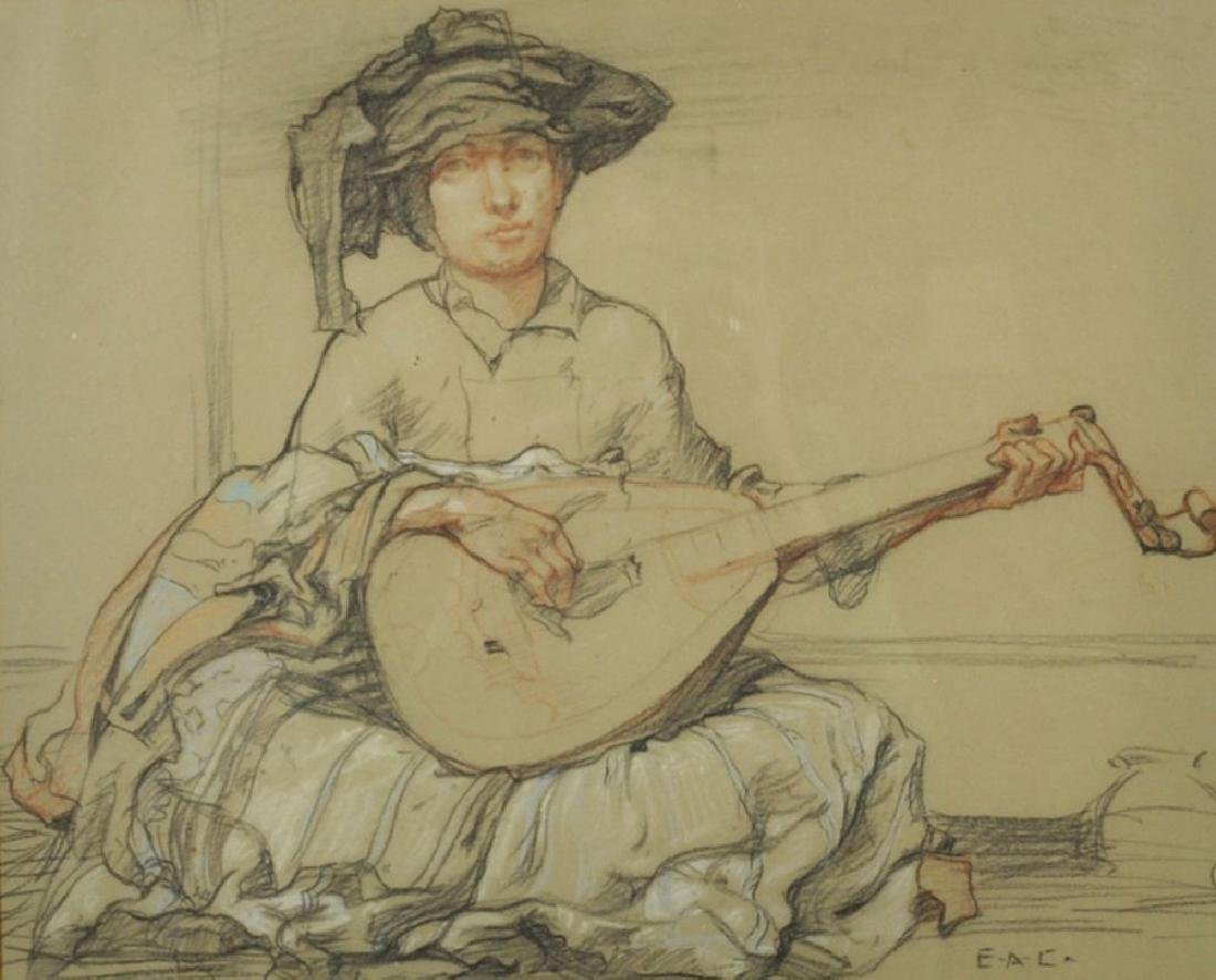 20th Century English School. A Musician playing the