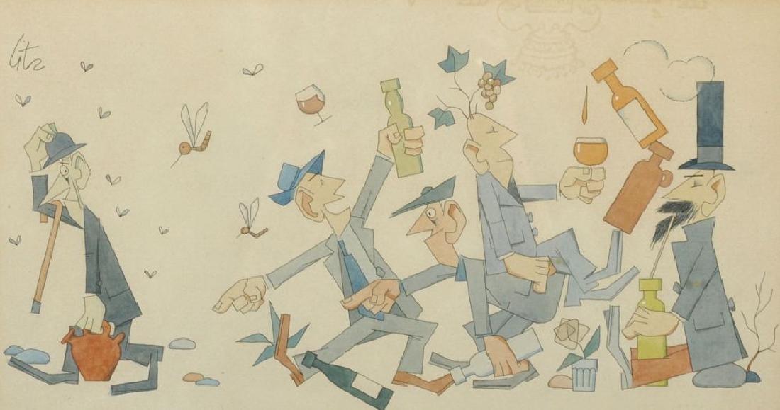 Litz (20th Century) European. Caricature of Figures