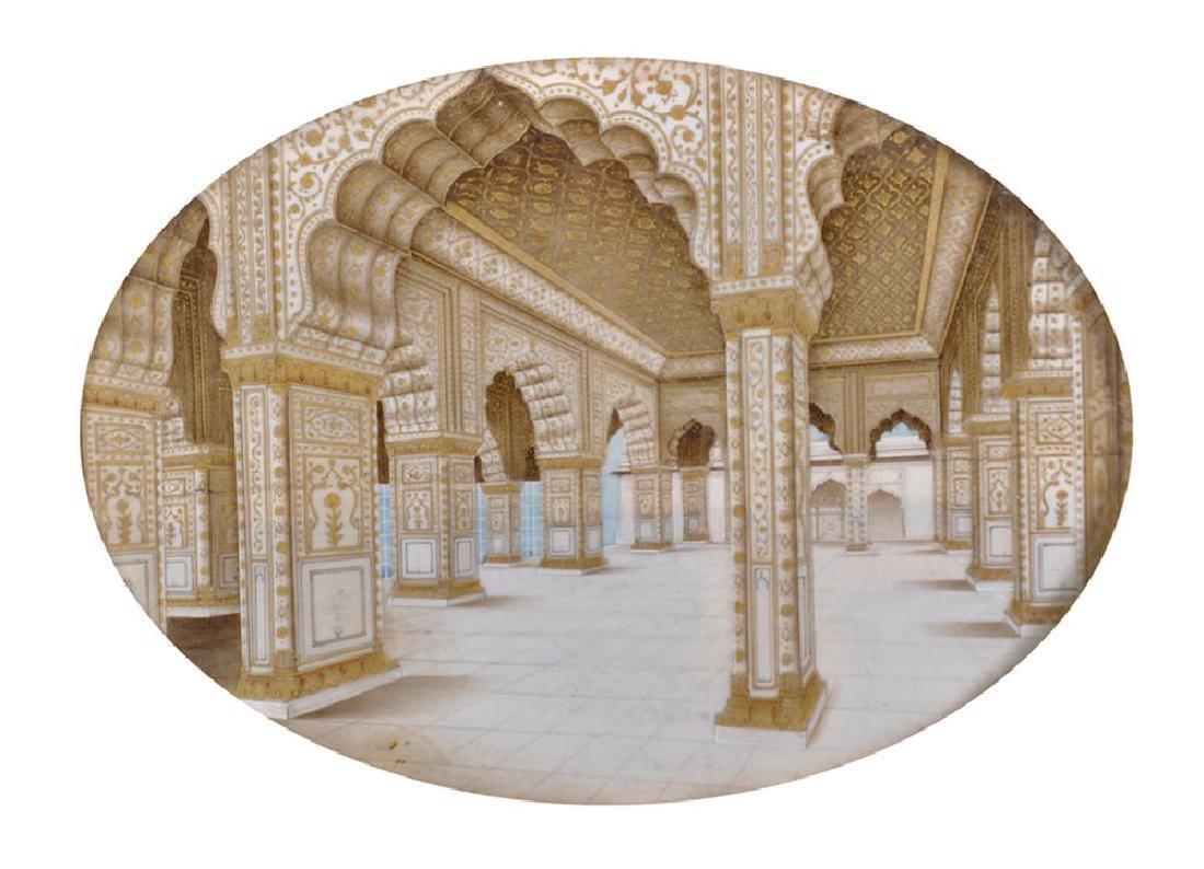 19th Century Indian School. A Delhi Fort Courtyard,