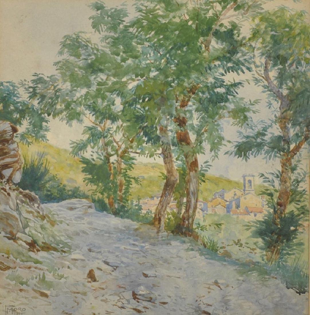 "Franz Moro (1875-1961) Austrian.  ""View from Villa"