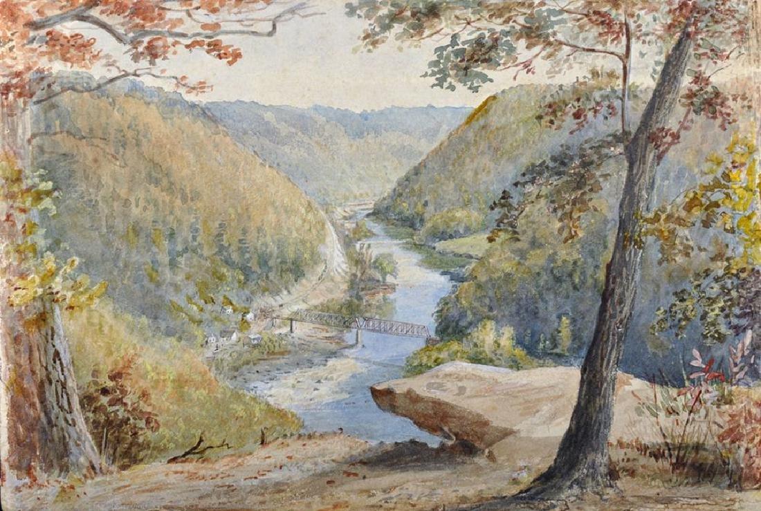 """Circle of Thomas Moran (1837-1926) American, """"View from"""