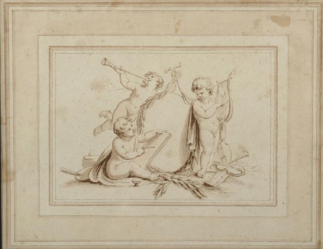 18th Century Italian School. 'The Arts', Cupids Playing
