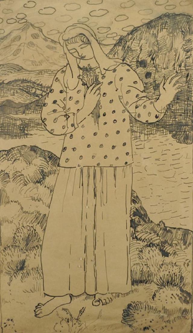 20th Century European School. Girl in a Landscape