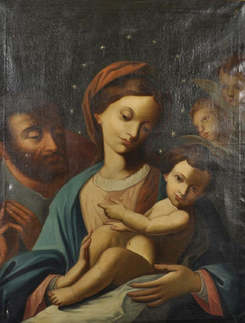 19th Century Spanish School. The Madonna and Child, Oil