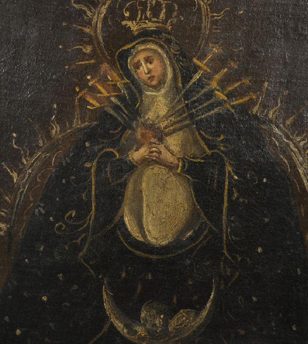 18th Century Spanish School. 'Our Lady of Sorrows', Oil