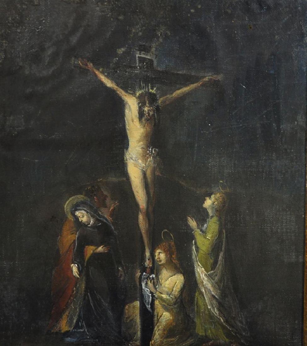 20th Century Italian School. Christ on the Cross, Oil