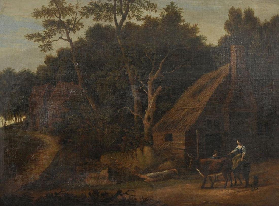 18th Century Dutch School. A Lady on a Donkey, with