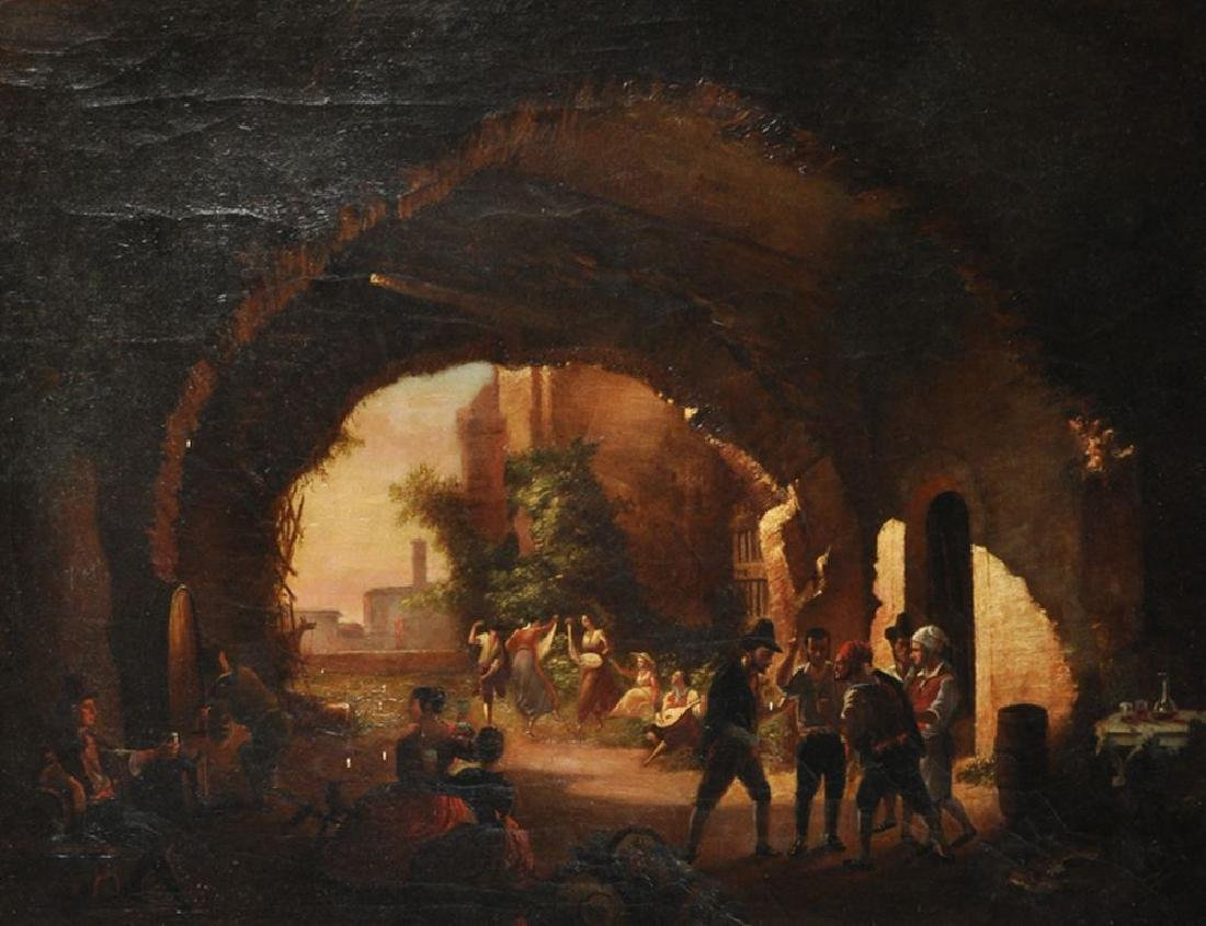 19th Century Italian School. A Neapolitan Scene with