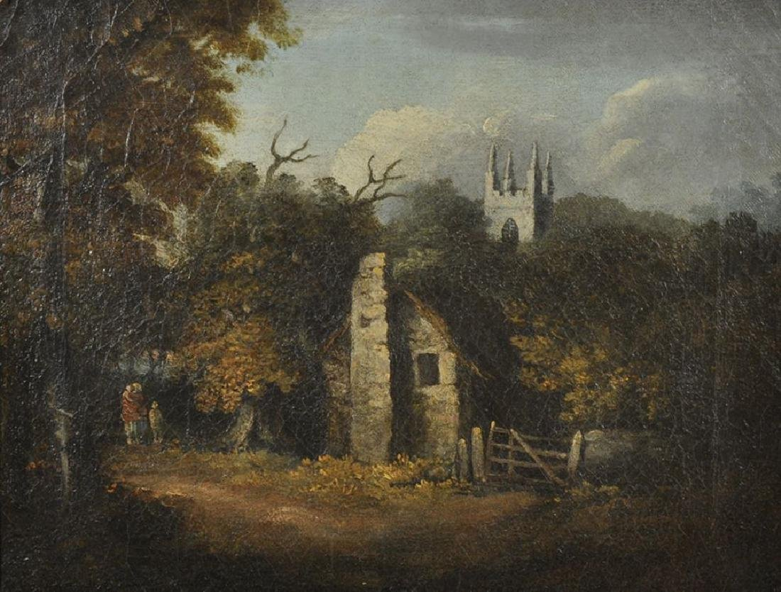 18th Century English School. Figures by a Cottage with
