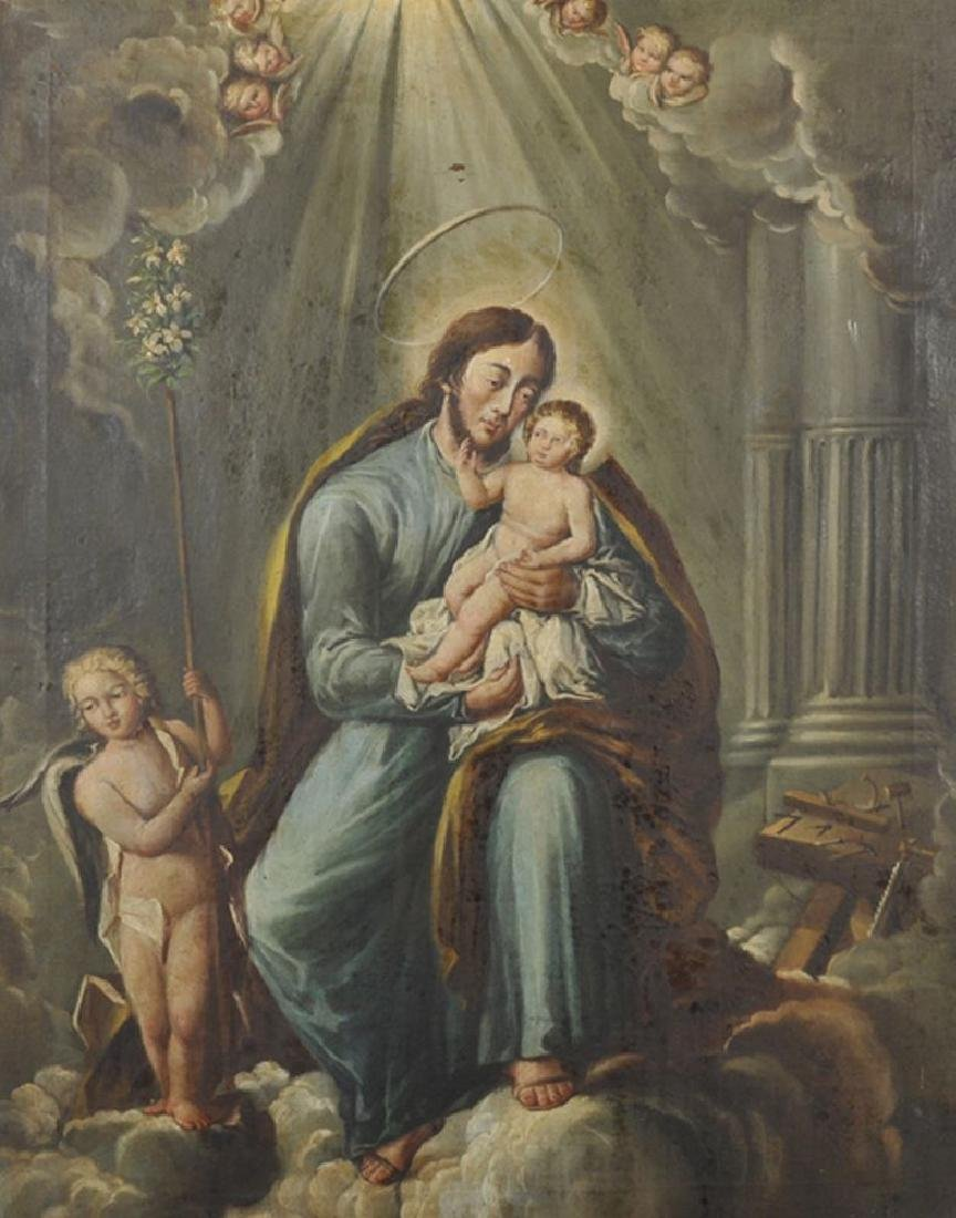 18th Century Spanish School. A Saint with a Baby Jesus,