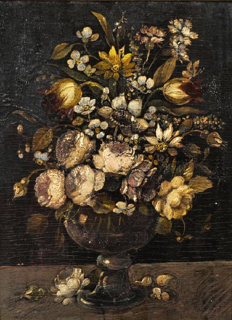 19th Century Italian School. Still Life of Flowers in a
