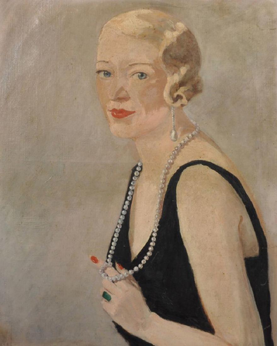 20th Century English School. Portrait of a Lady wearing