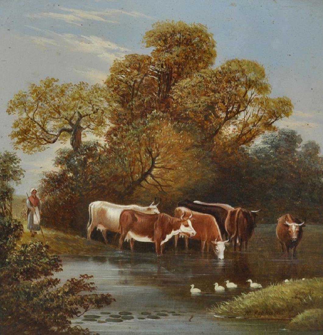 M...Popham (19th Century) British. Cattle Watering by a