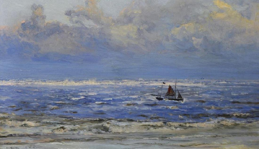 """Henry Moore (1831-1895) British. """"Lowestoft"""", a Boat in"""