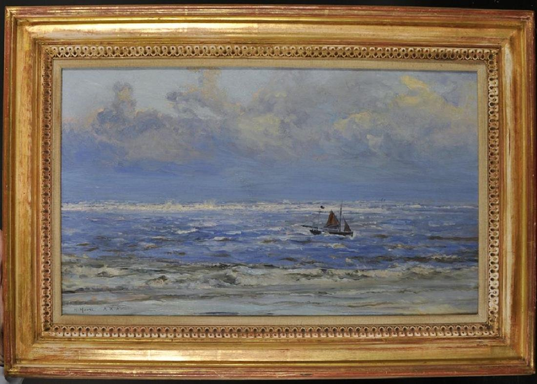 """Henry Moore (1831-1895) British. """"Lowestoft"""", a Boat in - 2"""