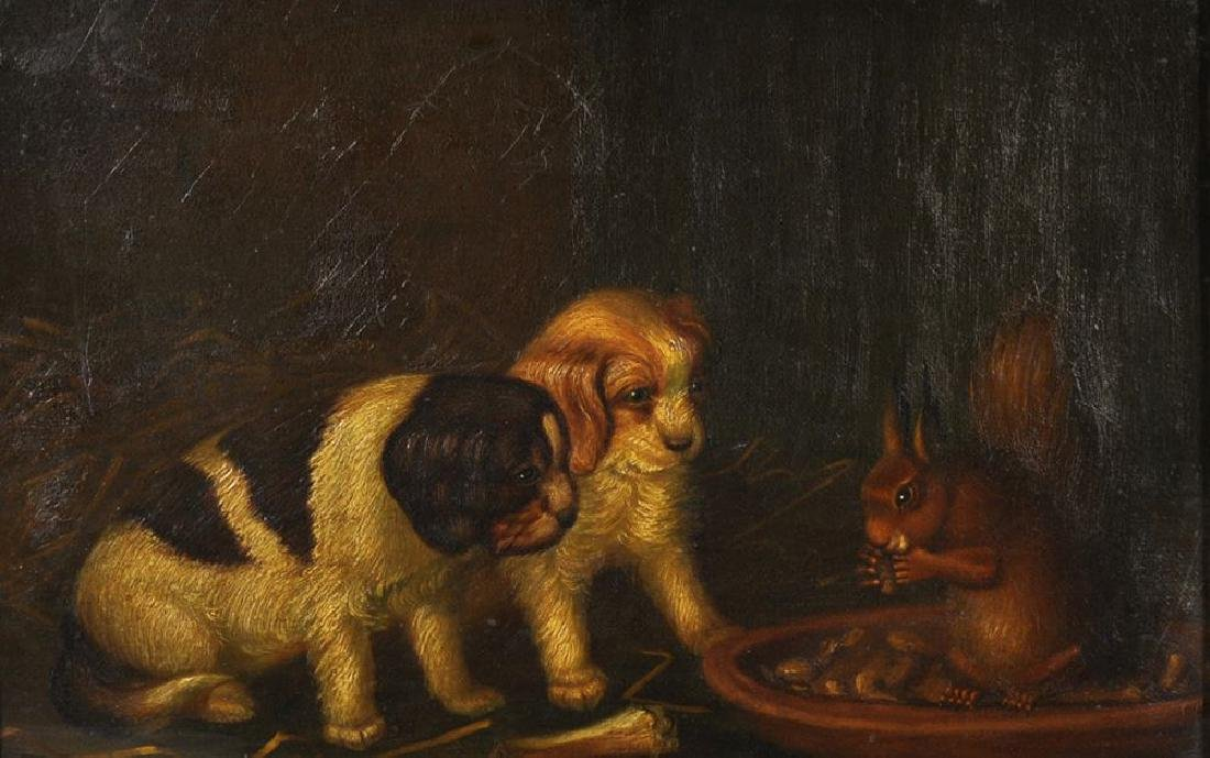 Nora Chease (19th Century) British. 'Puppies with a Red