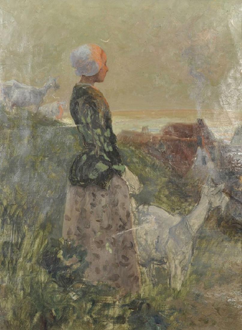 Ernest Robert Salmon Noir (1864-1931) French. A Goat