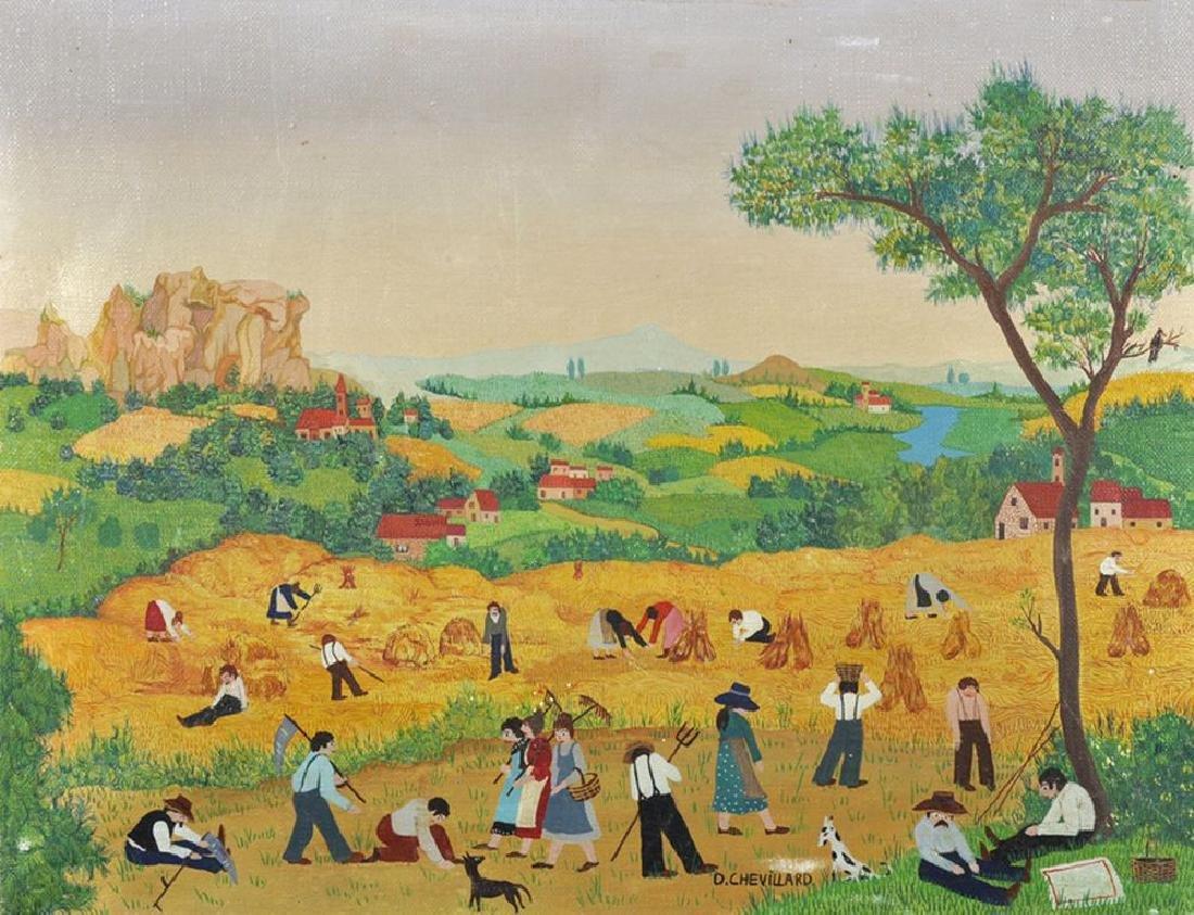 D...Chevillard (20th Century) French. 'Haymaking', Oil