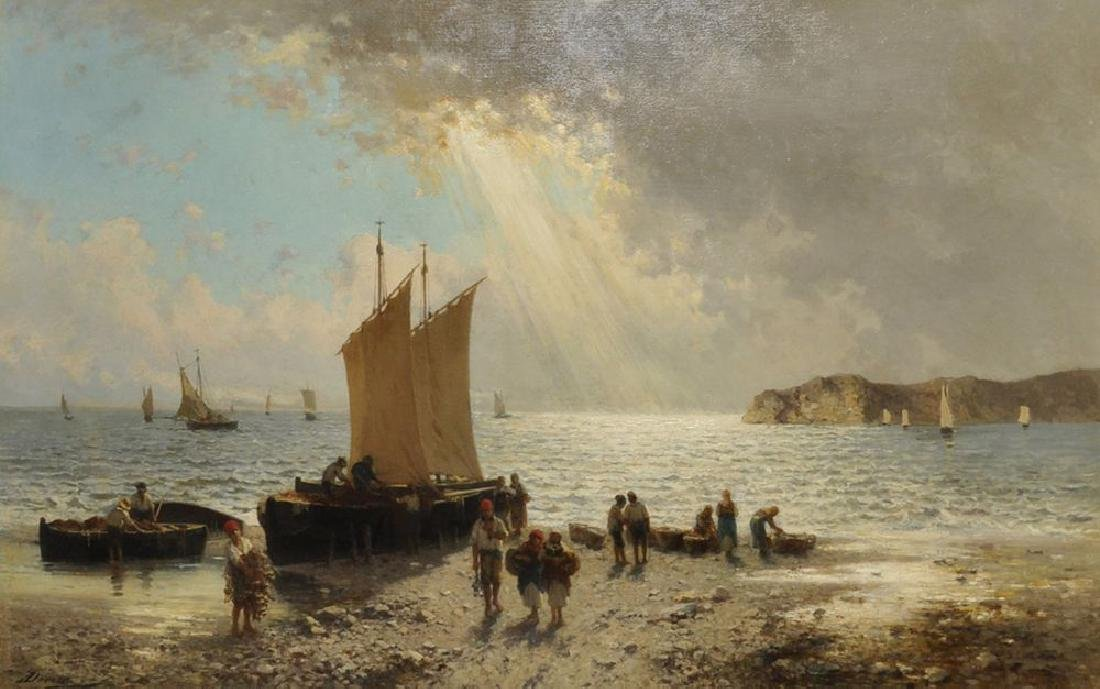 Achille Dovera (1838-1895) Italian. An Extensive Beach