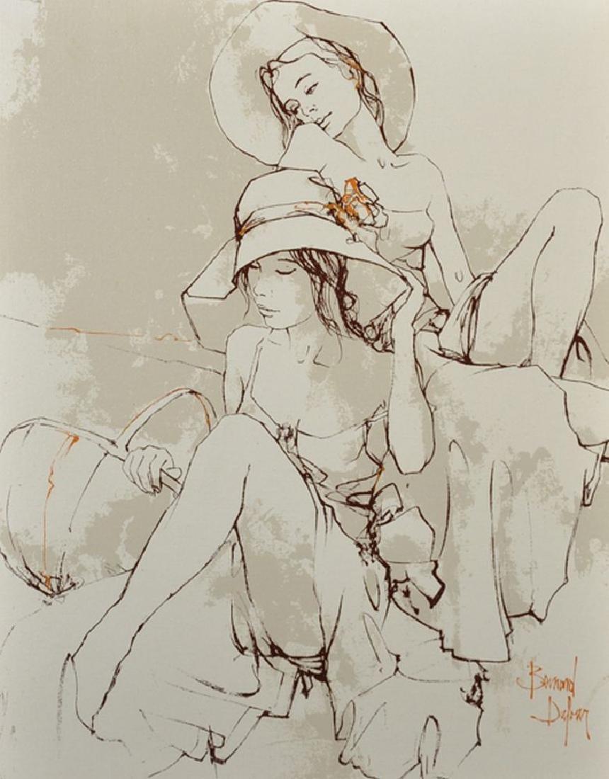 Bernard Dufour (1922-2016) French. Study of Two Girls