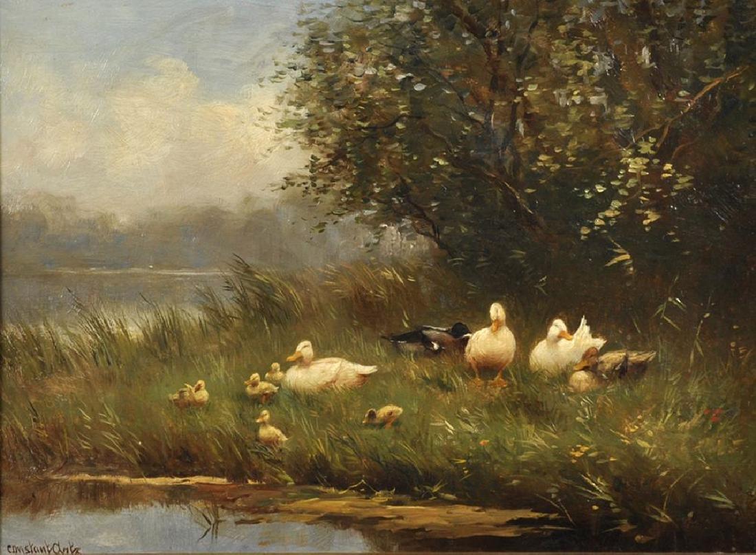 Constant David Ludovic Artz (1870-1951) British. Ducks