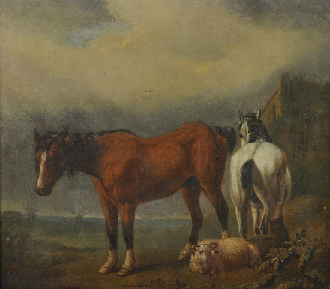19th Century Dutch School. A Landscape with Two Horses