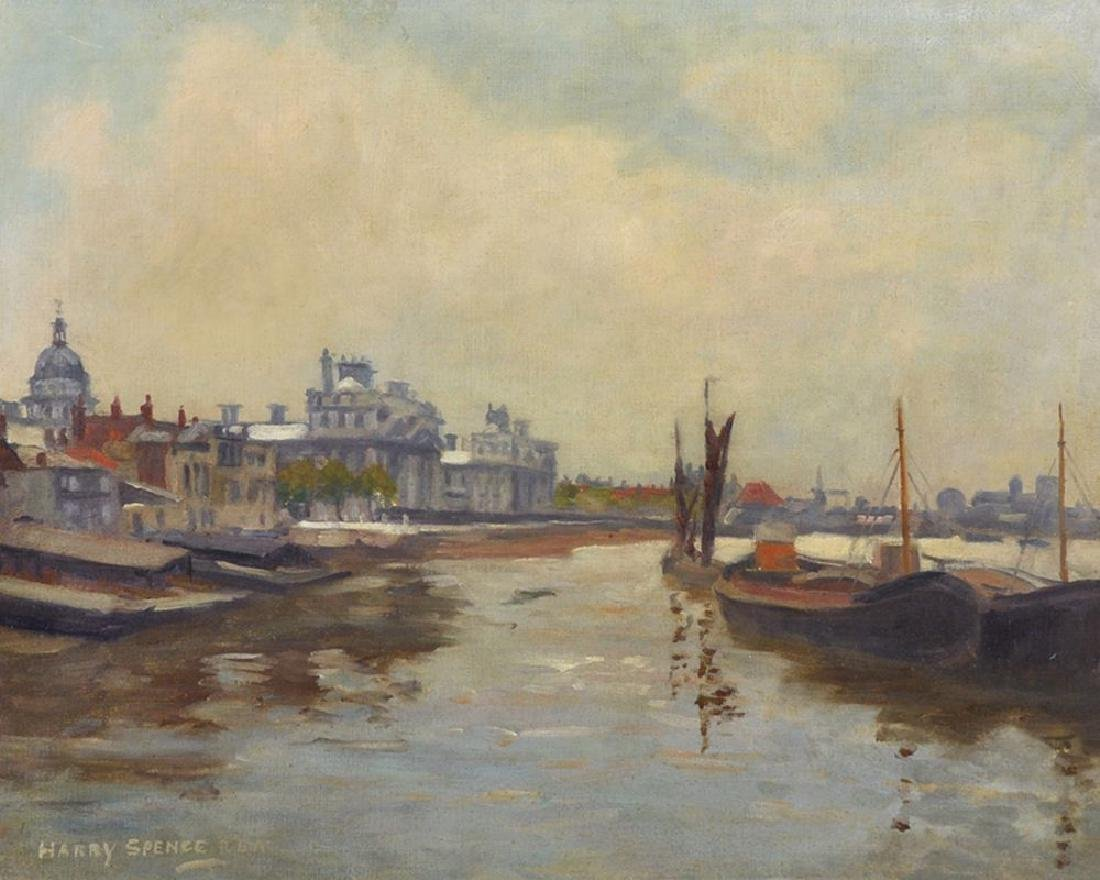 "Harry Spence (1860-1928) British. ""Thames Barges at"