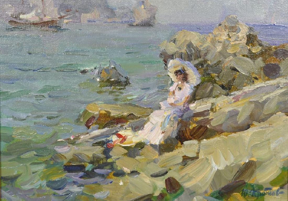"Yuri Krotov (1964-   ) Russian. ""Marine Sketch"", A Lady"