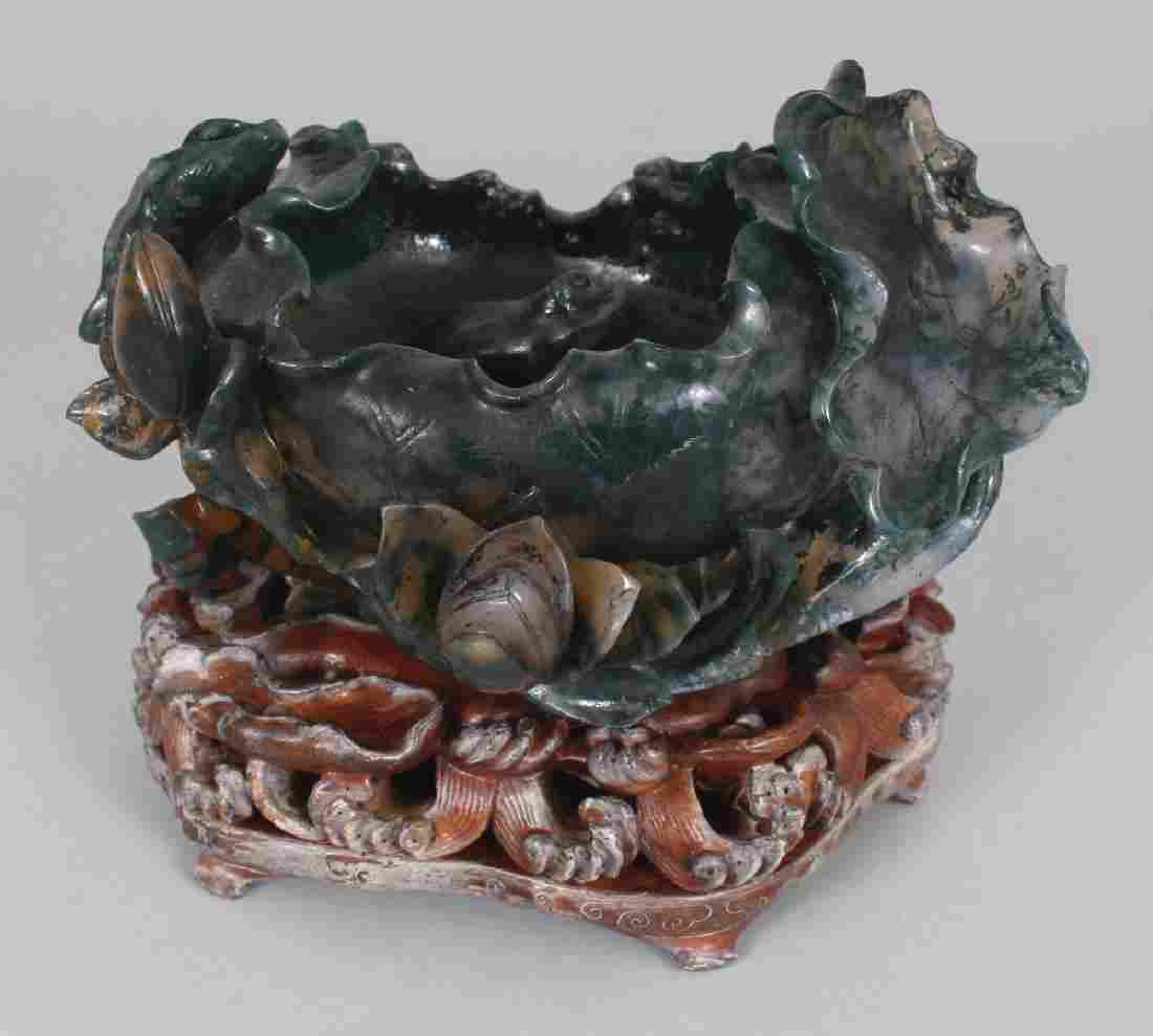 A GOOD CHINESE DARK GREEN JADE-LIKE  HARDSTONE