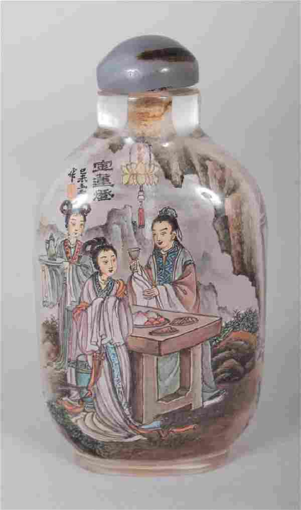 A GOOD QUALITY CHINESE INTERIOR PAINTED SNUFF BOTTLE &