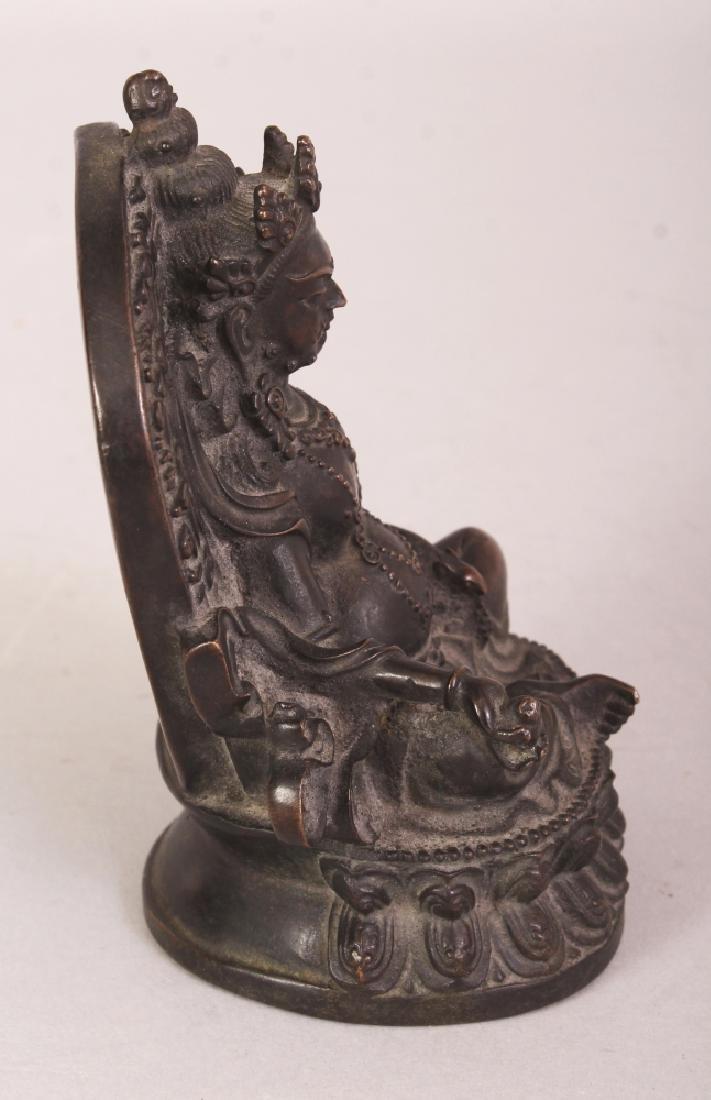 A GOOD QUALITY TIBETAN BRONZE FIGURE OF A BODHISATTVA, - 2