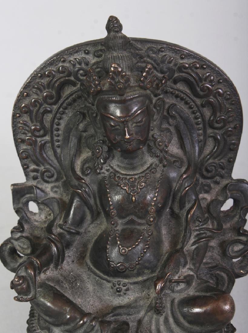 A GOOD QUALITY TIBETAN BRONZE FIGURE OF A BODHISATTVA, - 5