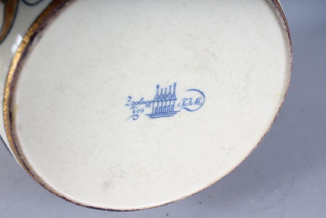 A LARGE ZSOLNAY PORCELAIN TWO HANDLED ISLAMIC VASE, - 3