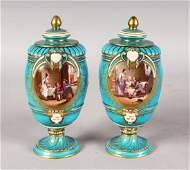 A VERY GOOD PAIR OF SEVRES BLUE VASES AND COVERS
