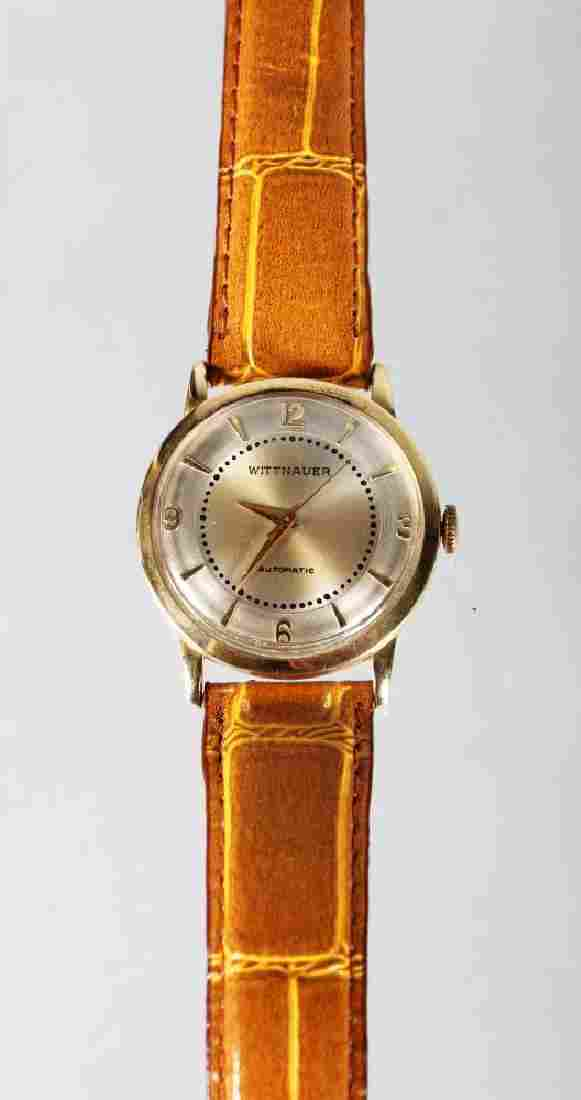 A GOOD 14K GOLD WITTNAUER AUTO WRISTWATCH with leather