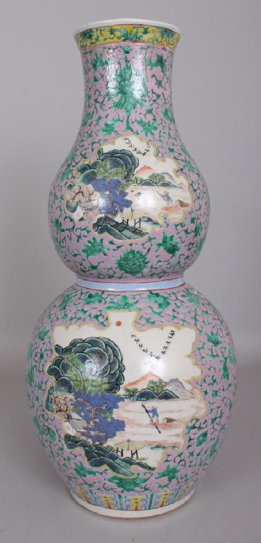 A 19TH CENTURY CHINESE PINK GROUND FAMILLE ROSE DOUBLE