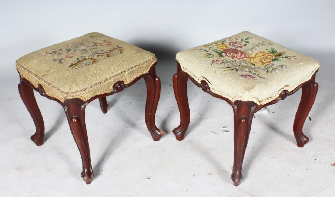 A PAIR OF VICTORIAN SQUARE PADDED STOOLS, with