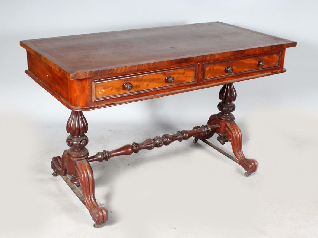 A VICTORIAN MAHOGANY RECTANGULAR TOP LIBRARY TABLE,